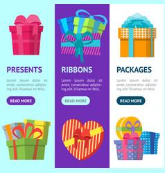 cartoon color gift boxes banner vecrtical set vector image