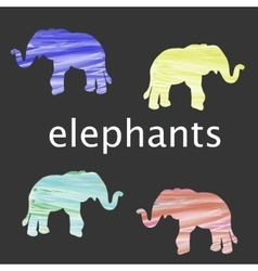colored elephant silhouette vector image