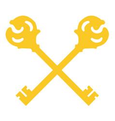 crossed golden keys vector image