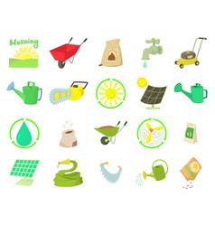 farm tools icon set cartoon style vector image