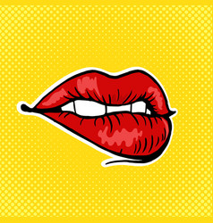 female lips pop art style vector image vector image