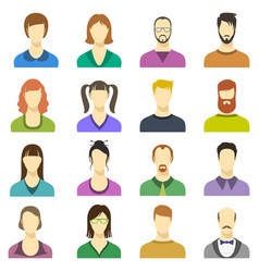 male and female faces icons human persons vector image vector image