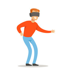 man in virtual reality glassespart of happy vector image