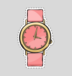 pink watch cut it out isolated fashionable thing vector image vector image