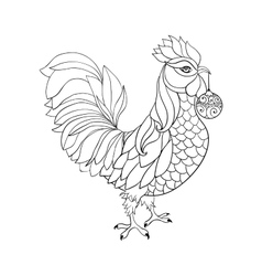 Rooster symbol of 2017 for Chinese calendar Thin vector image