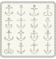 Silhouettes of hand drawn anchors vector image