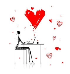 Valentine day Girl with laptop in cafe vector image