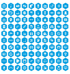 100 settings icons set blue vector