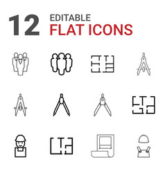 12 architect icons vector image
