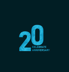 20 year anniversary aqua color template design vector
