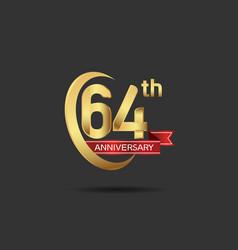 64 years anniversary logo style with swoosh ring vector