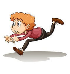A young man in a hurry vector image