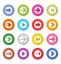 Arrow sign web icon set flat style vector image