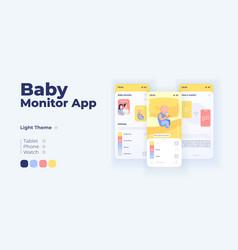 Baby surveillance cartoon smartphone interface vector