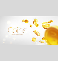 banner realistic gold coins flying gray vector image