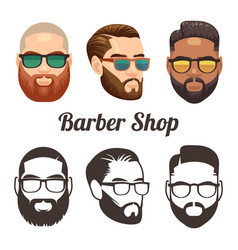 barbershop cartoon and outline logos with vector image