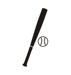 baseball bat and ball monochrome icon vector image