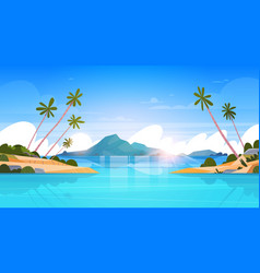 beautiful seaside landscape summer beach with vector image