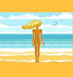 beautiful slim skinny girl standing naked at the vector image