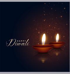 Beautiful two diwali festival diya on dark vector