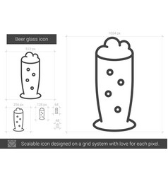 Beer glass line icon vector