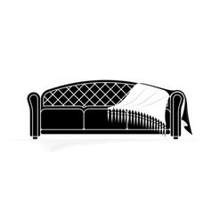 black contour a soft sofa with a veil lying on vector image