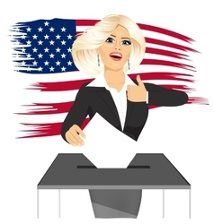 Blonde businesswoman putting ballot in vote box vector