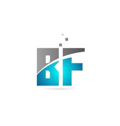 Blue grey alphabet letter combination bf b f vector