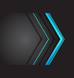blue light neon arrow direction on dark grey vector image