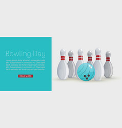bowling day web banner ball vector image