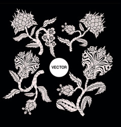Branches with flowers in chinoiserie style vector