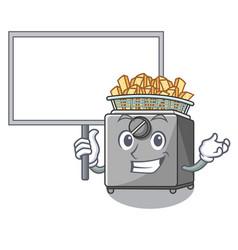 Bring board cartoon deep fryer in the kitchen vector