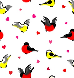 Bullfinches and tits pattern vector image