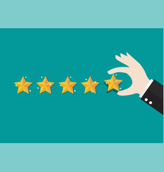 businessman hand giving five star rating vector image