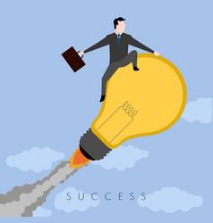 Businessman on a lightbulb success business vector