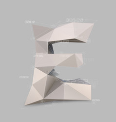 Capital latin letter e in low poly style vector