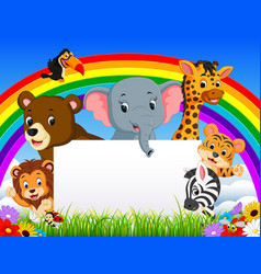 cartoon animal with blanksign and rainbow vector image