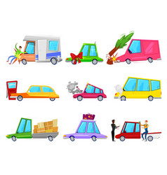 Cartoon car accident comic minicar and vector