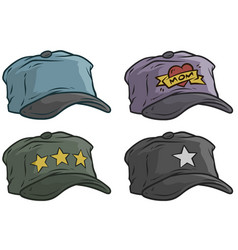 Cartoon different cap or hat icon set vector