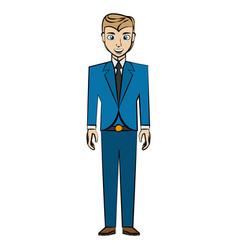 Cartoon man business suit posture vector