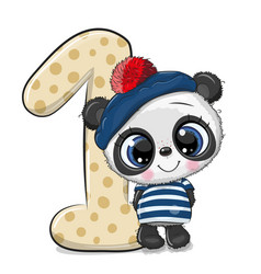 Cartoon panda and number one isolated on a white vector