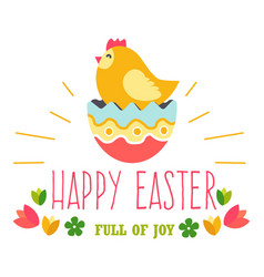 chicken and cracked shell of easter egg isolated vector image