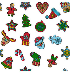 christmas and new year outline seamless pattern vector image