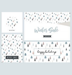 christmas winter landscape greeting card and vector image