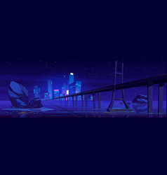 city skyline with buildings and bridge at night vector image