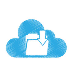 cloud computing with folder download isolated icon vector image