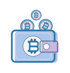 color wallet icon with bitcoin currency vector image