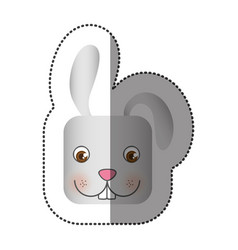 colorful face sticker of rabbit in square shape vector image