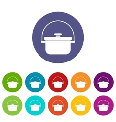 Cooking cauldron set icons vector