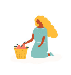 cute farmer girl sitting with basket of fruits vector image